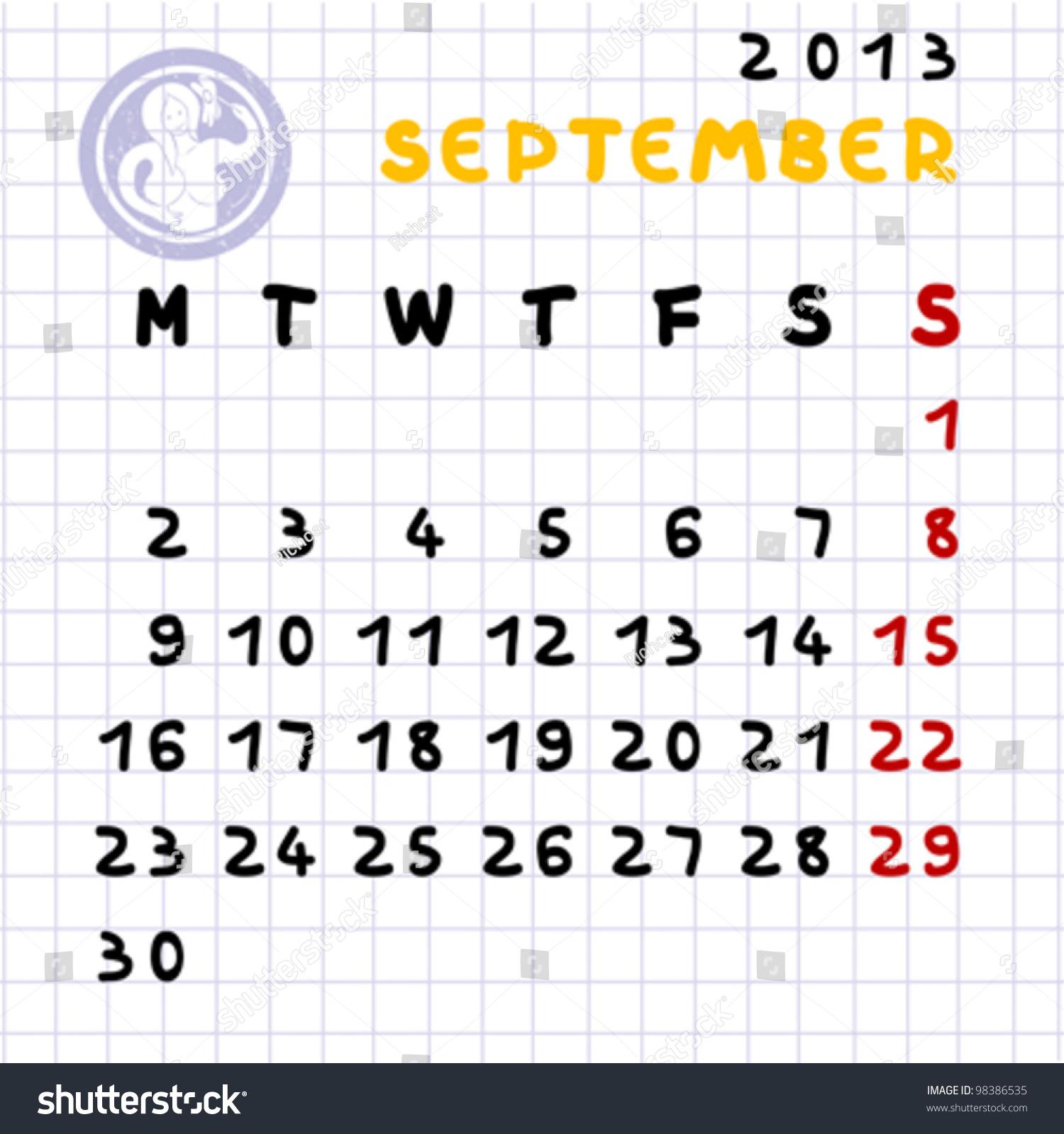 Virgo Calendar May : Monthly calendar september virgo zodiac stock vector