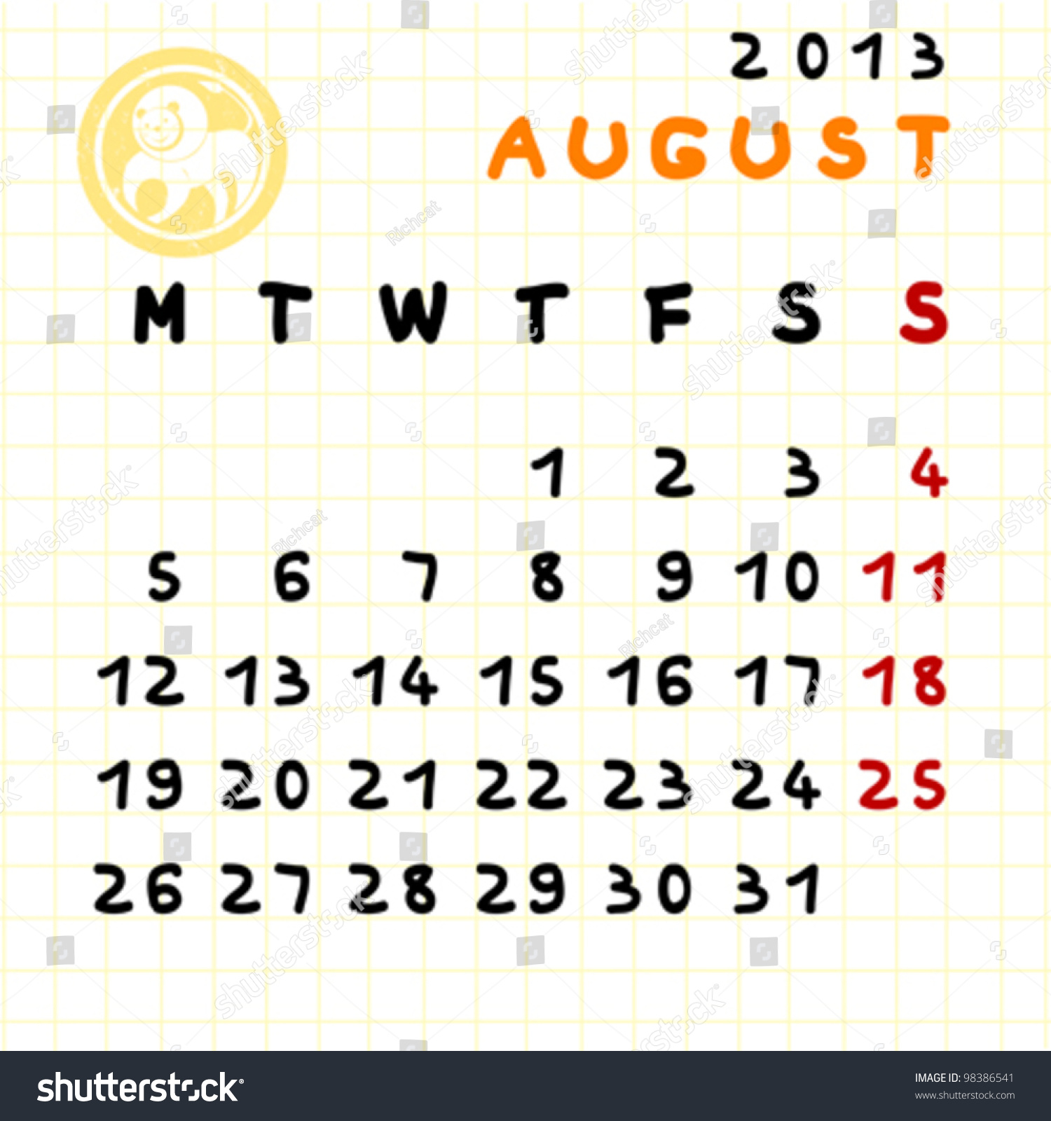 2013 Monthly Calendar August Leo Zodiac Stock Vector Royalty Free