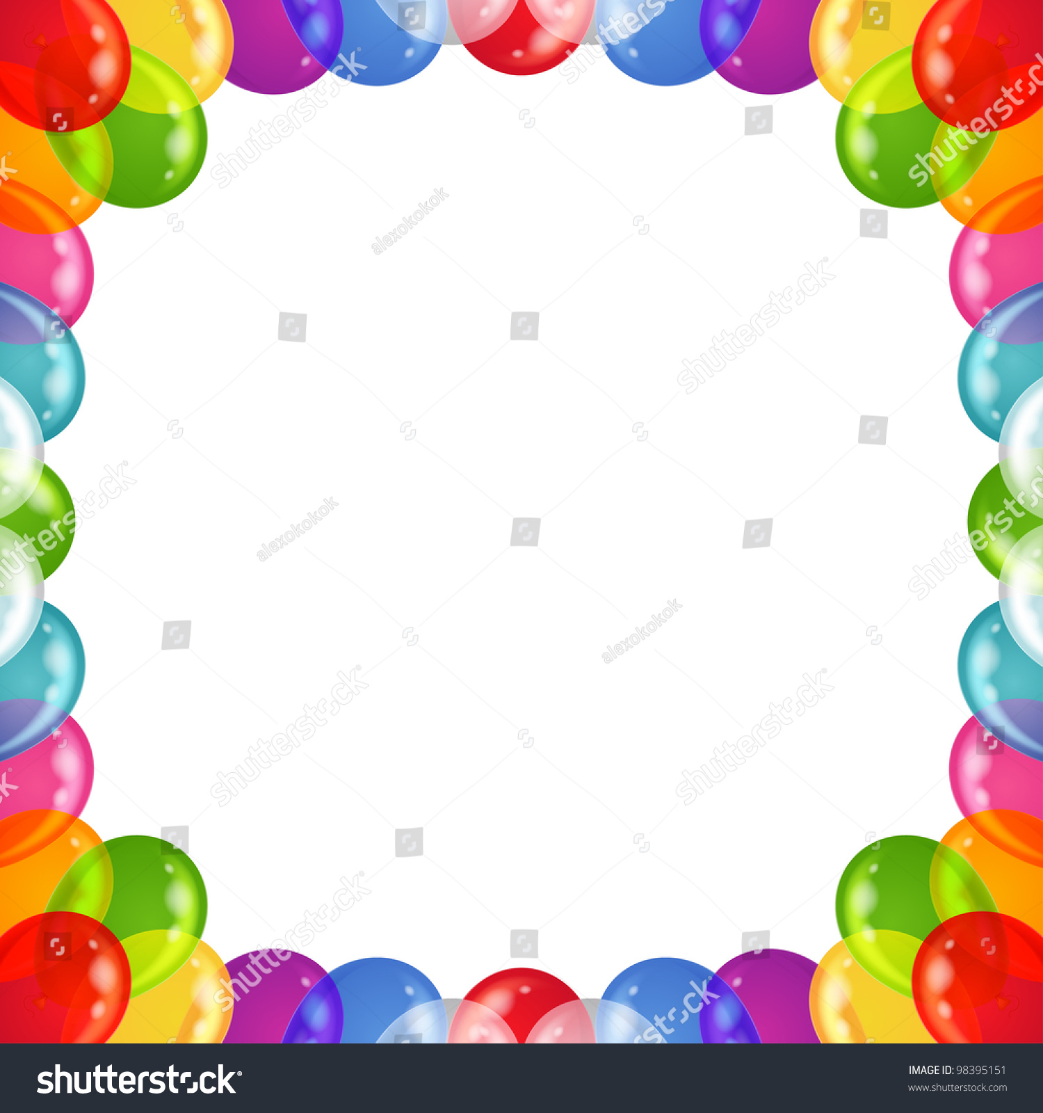 balloons frame of various colors beautiful background isolated eps10 contains transparencies