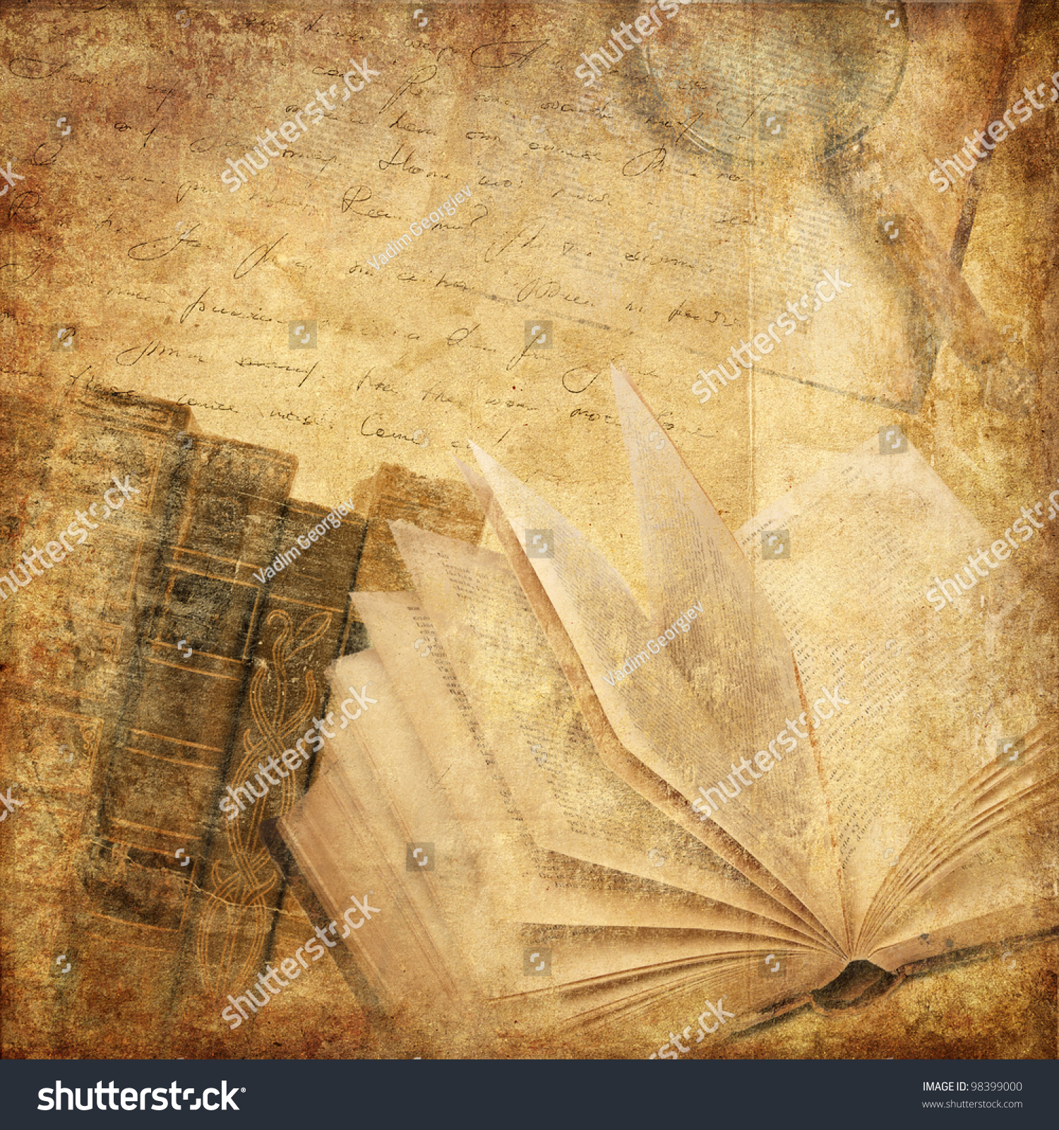 Vintage Background Old Books Stock Photo 98399000 - Shutterstock