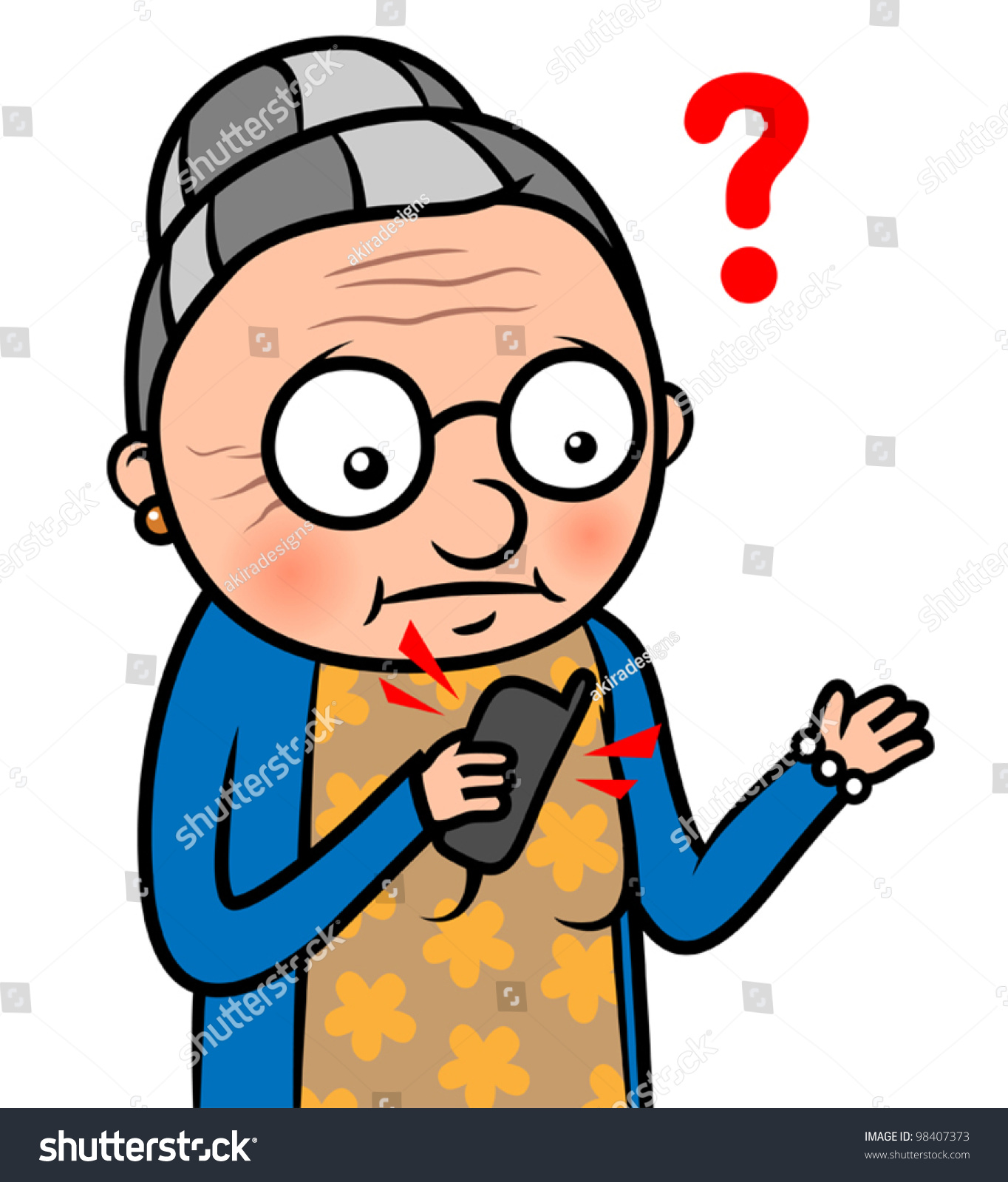 Cartoon Vector Illustration Confused Old Woman Stock ... Old Lady On Cell Phone Clip Art