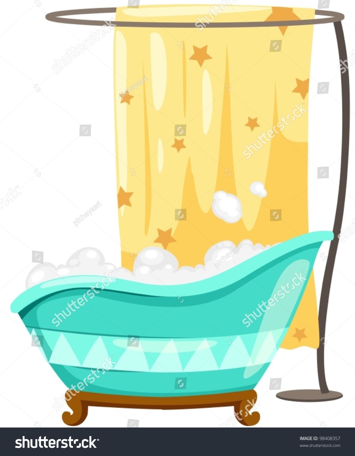 Illustration Isolated Bath Tube Shower Curtain Stock Vector (2018 ...