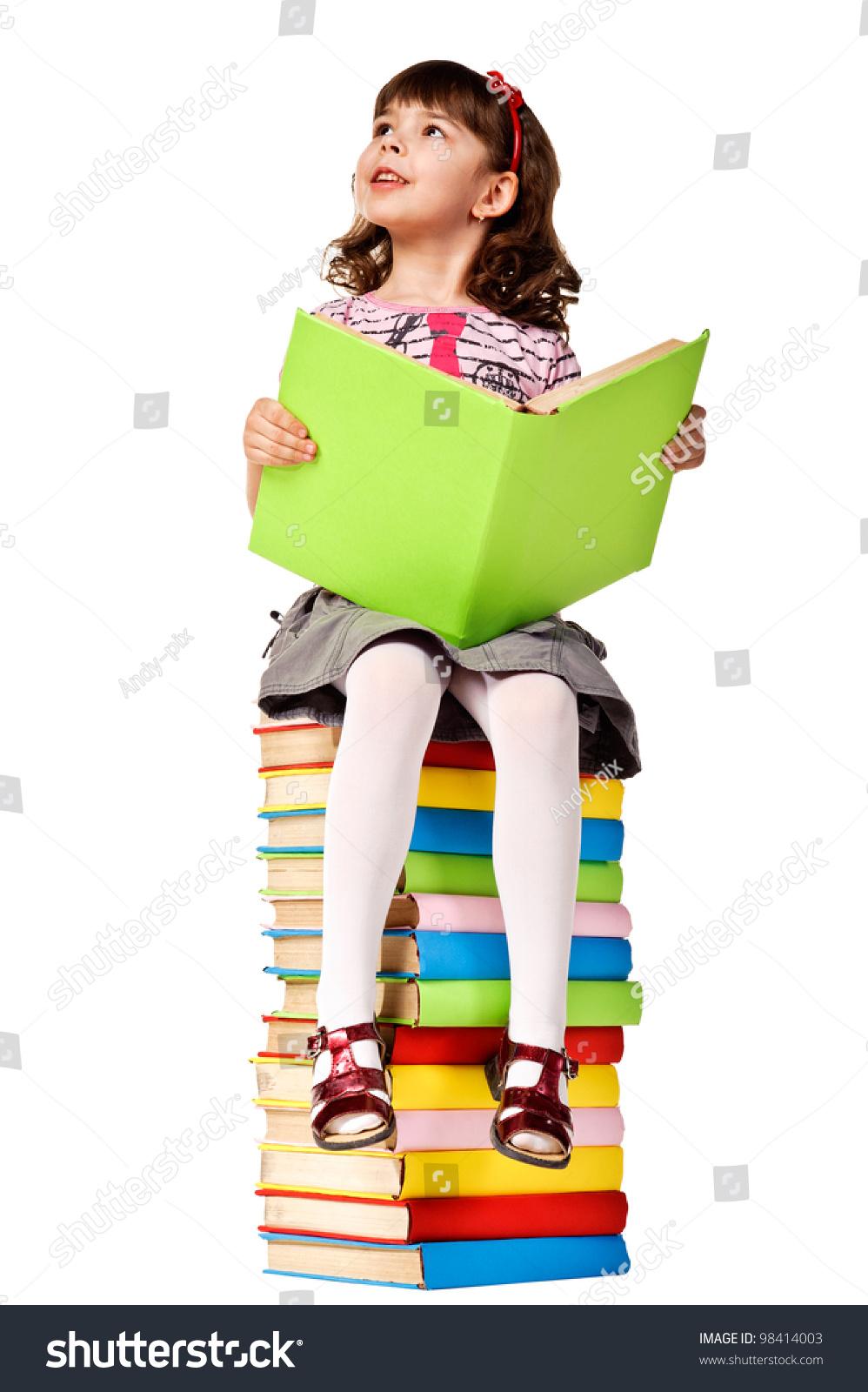 Little Girl Sitting On Stack Books Stock Photo 98414003