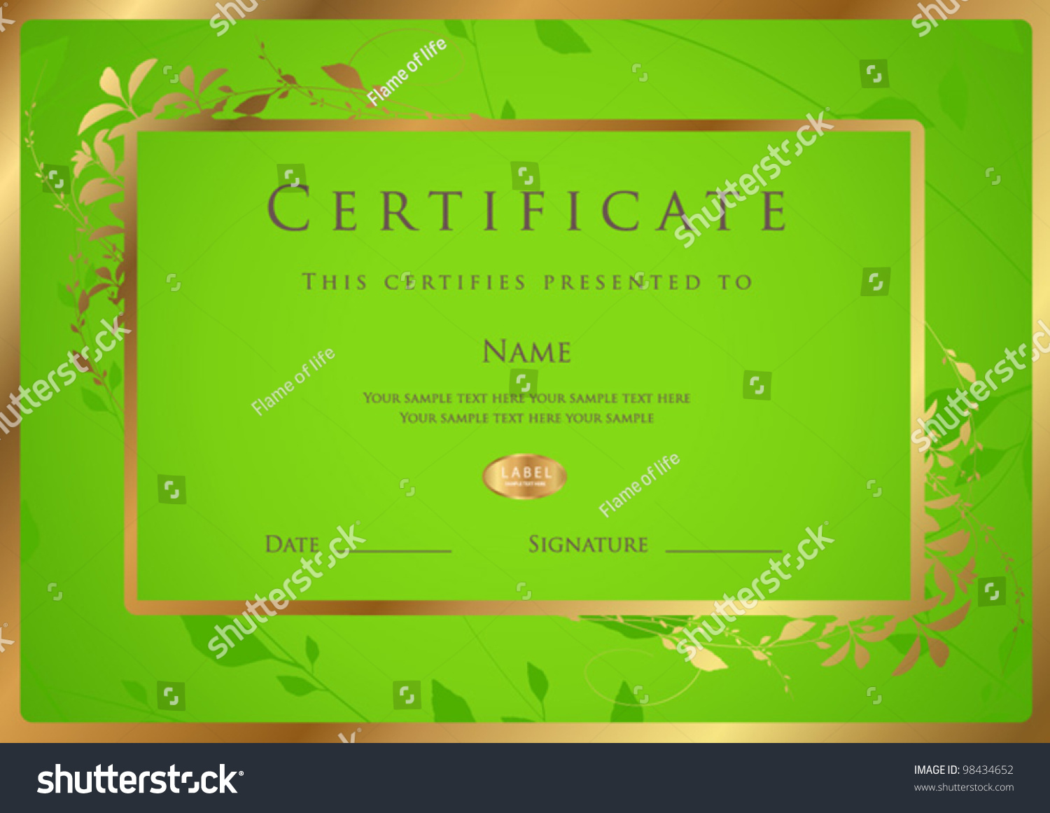 Horizontal green certificate completion template golden stock horizontal green certificate of completion template with golden floral pattern and frame this design usable yadclub Choice Image