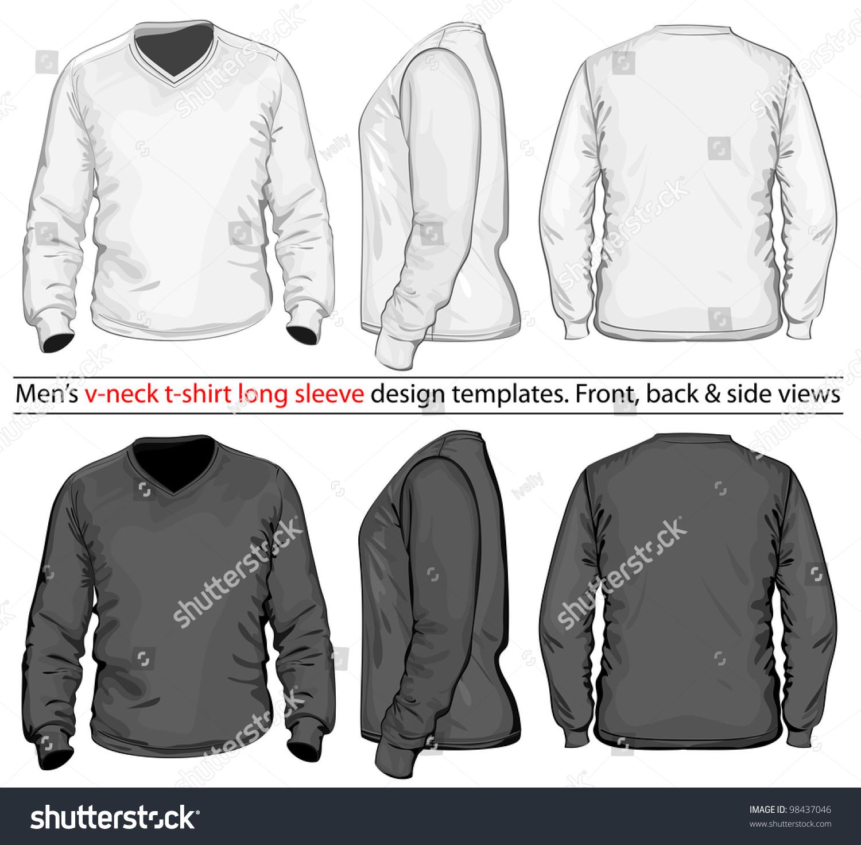 Vector. Men'S V-Neck Long Sleeve T-Shirt Design Template