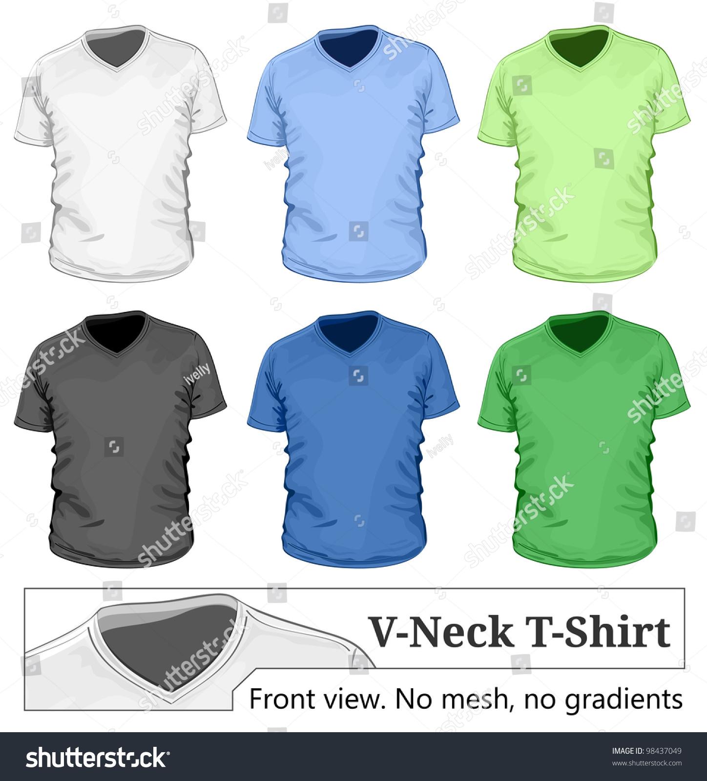vector men 39 s v neck t shirt design template front view 98437049 shutterstock. Black Bedroom Furniture Sets. Home Design Ideas
