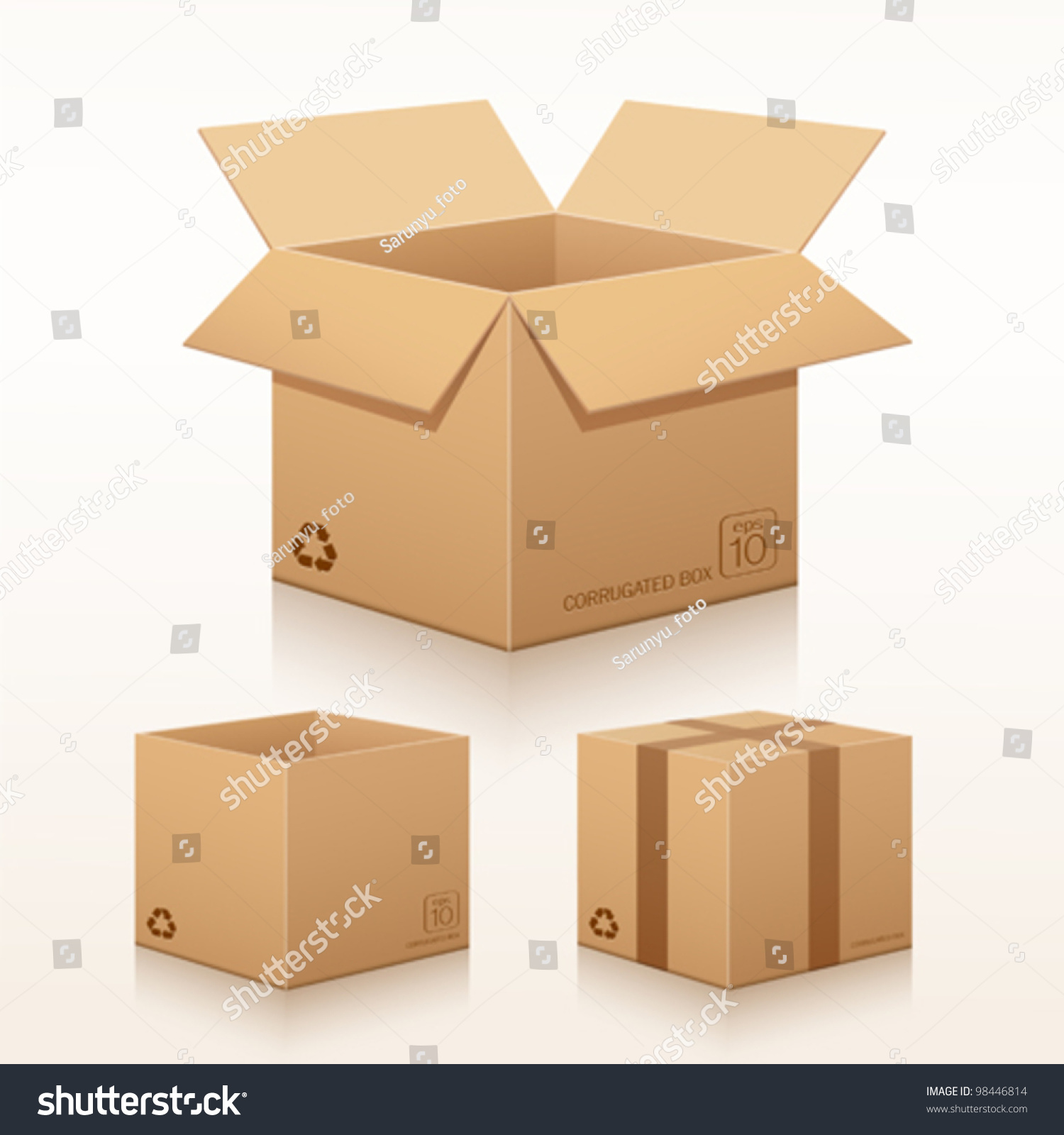 collection recycle brown box packaging vector のベクター画像素材