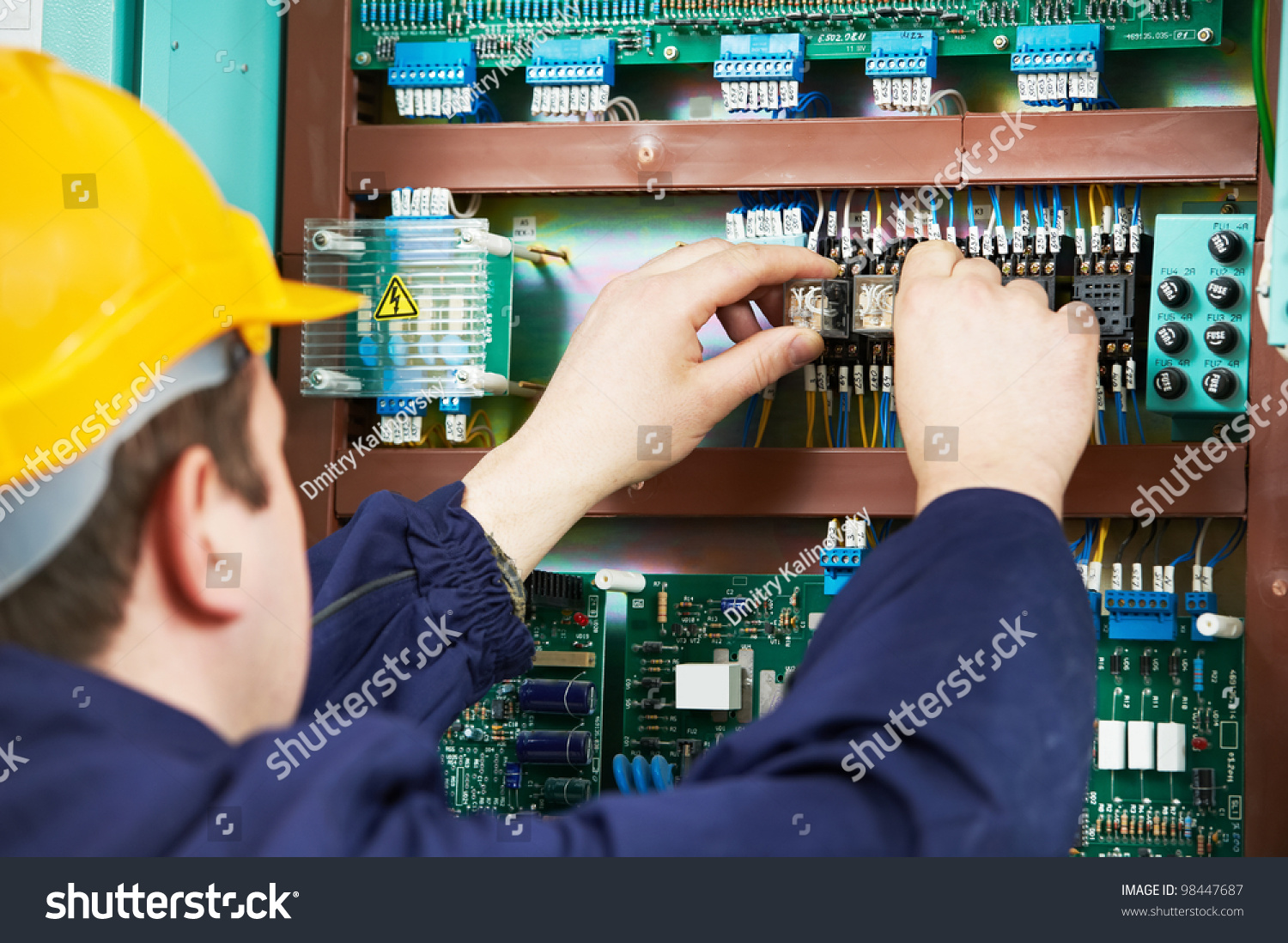 Electrician Safety Fuse Device Replace Work Stock Photo Edit Now Box At Electric Power Switch Line