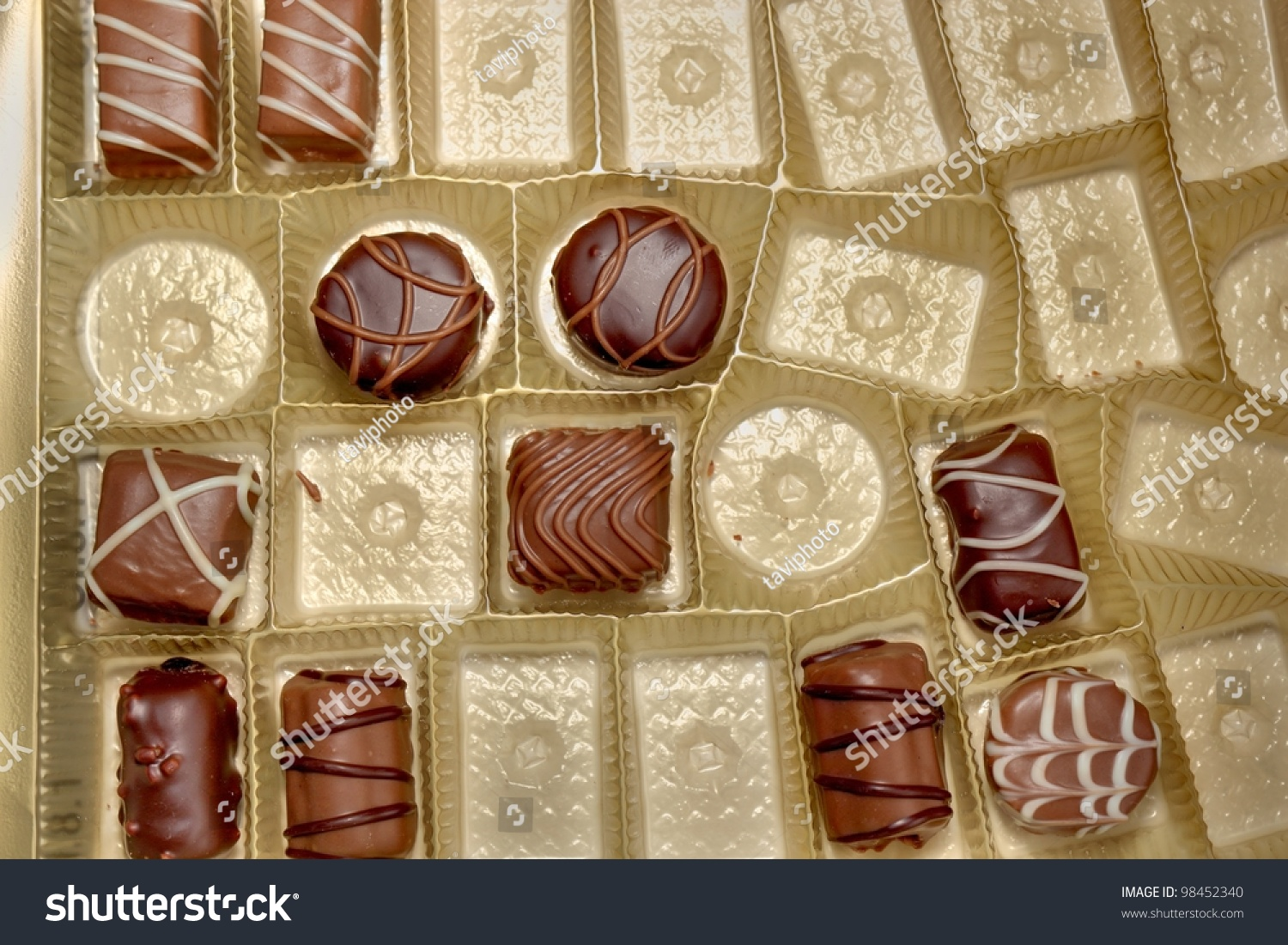 Different Types Chocolate Candies Candy Box Stock Photo 98452340 ...
