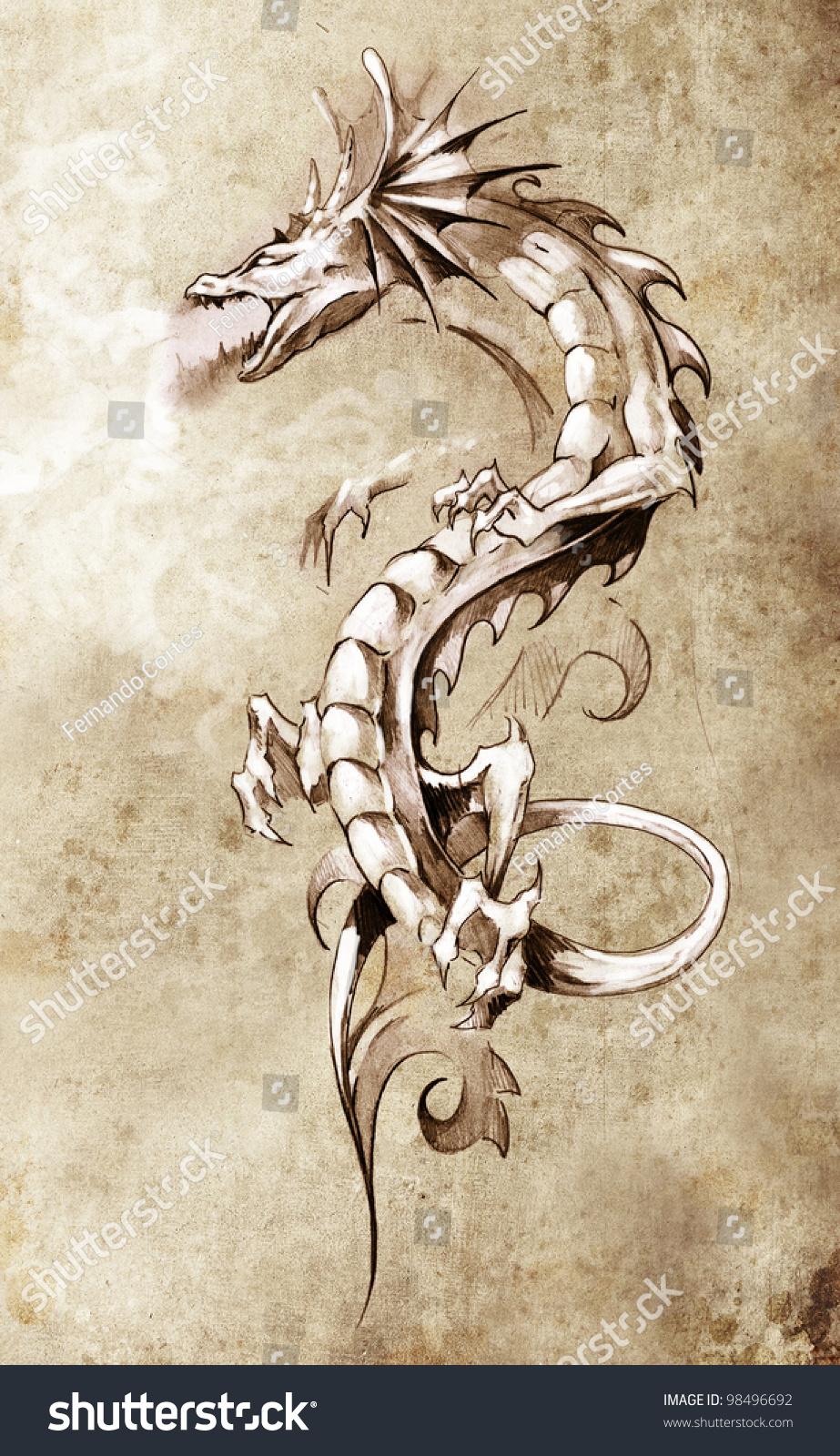 Sketch tattoo art big medieval dragon stock illustration for Medieval dragon tattoo