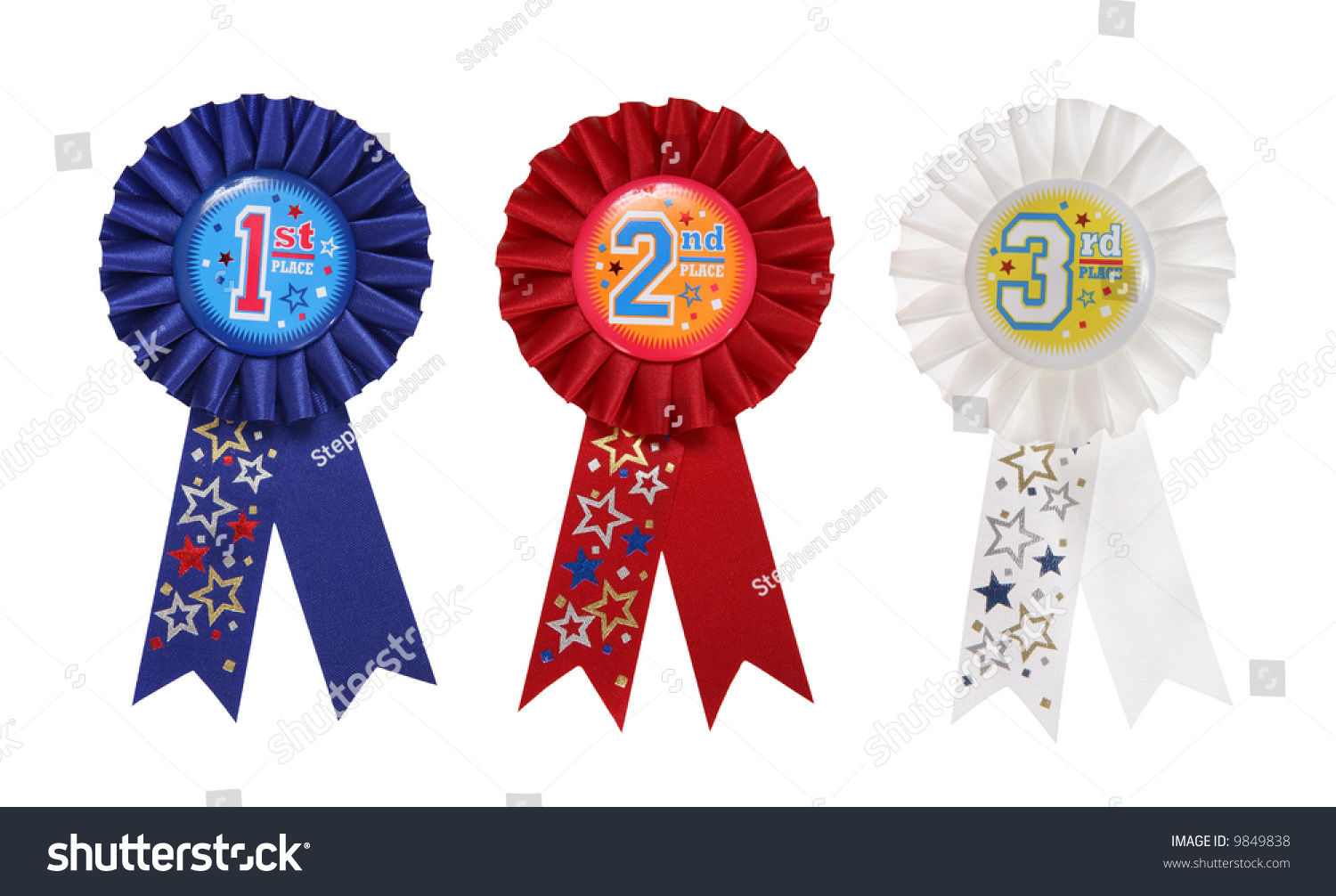 First second third place award ribbons stock photo 9849838 for 1st prize ribbon template
