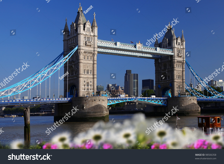 Famous Tower Bridge Spring Flowers London Stock Photo Royalty Free