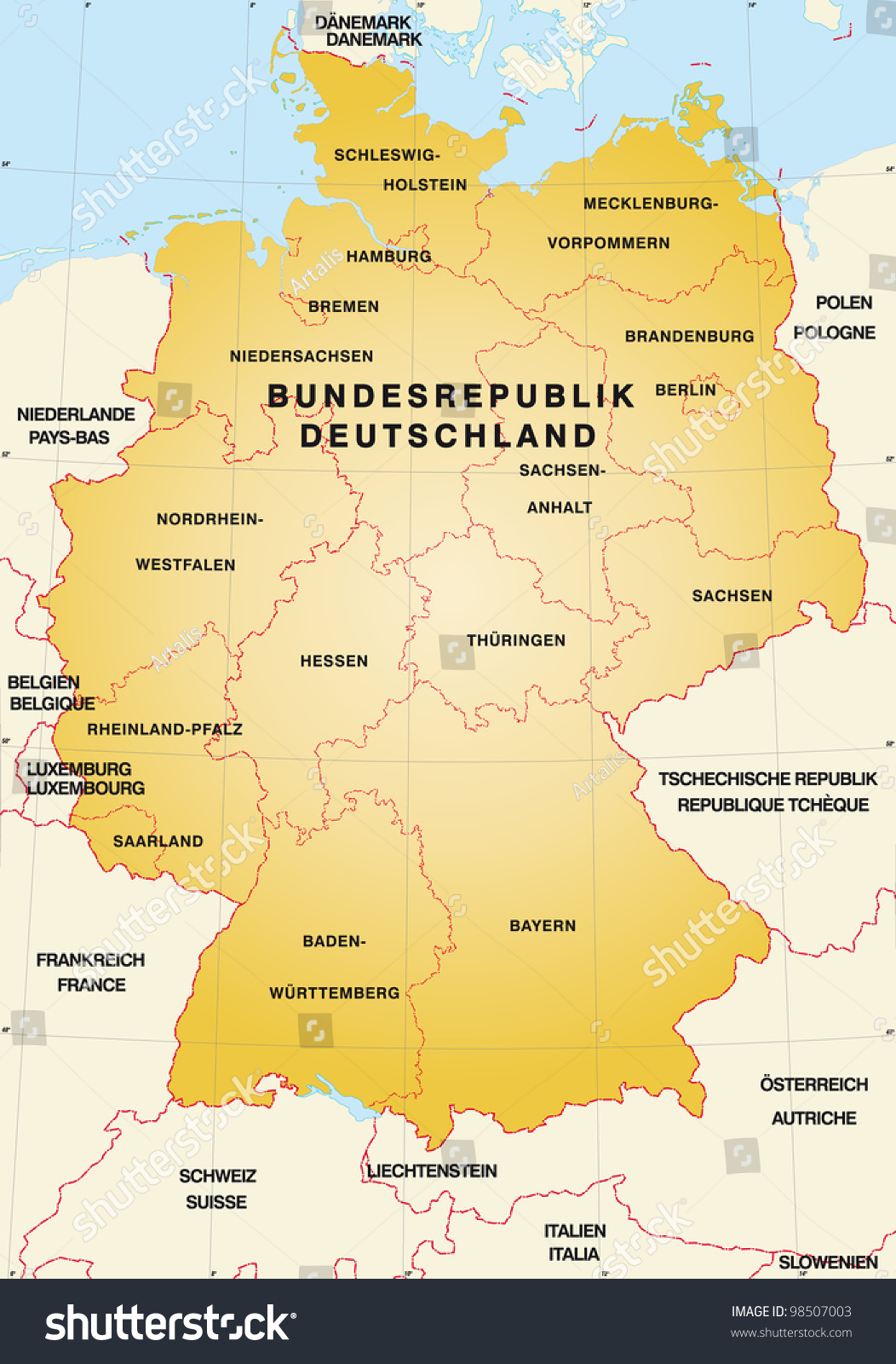 Map Germany Neighboring Countries Stock Illustration - Germany map neighbouring countries