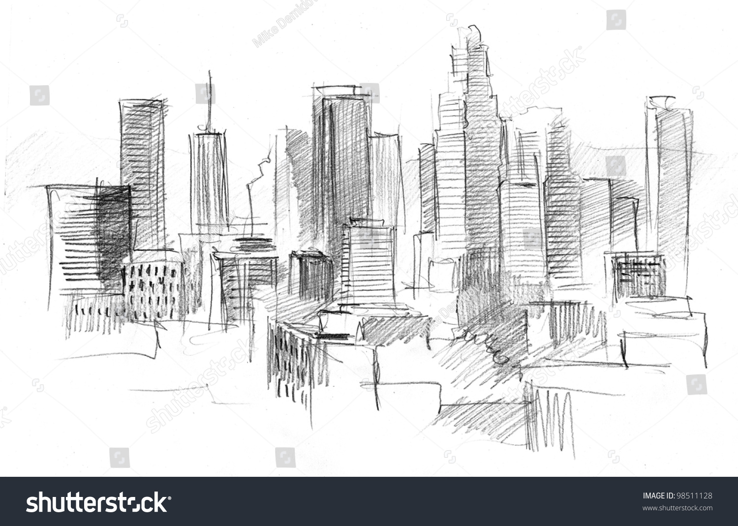Pencil drawing of a big modern city stock photo 98511128 avopix com