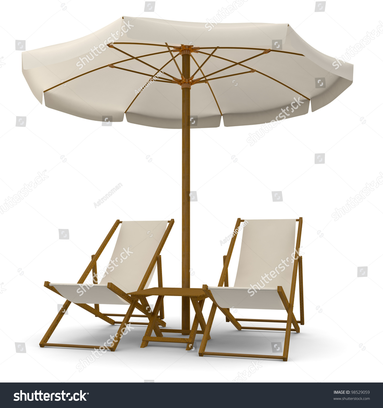 Deck Chairs With Beach Umbrella And Table