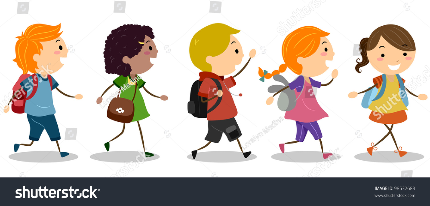 Walking In A Straight Line Clipart : Illustration kids going school stock vector