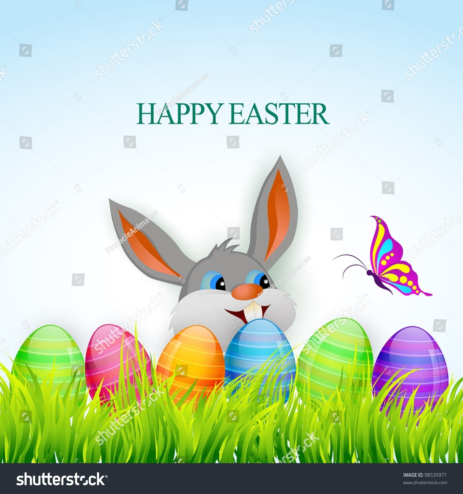 Vector Happy Easter Colorful Illustration Stock Vector ...
