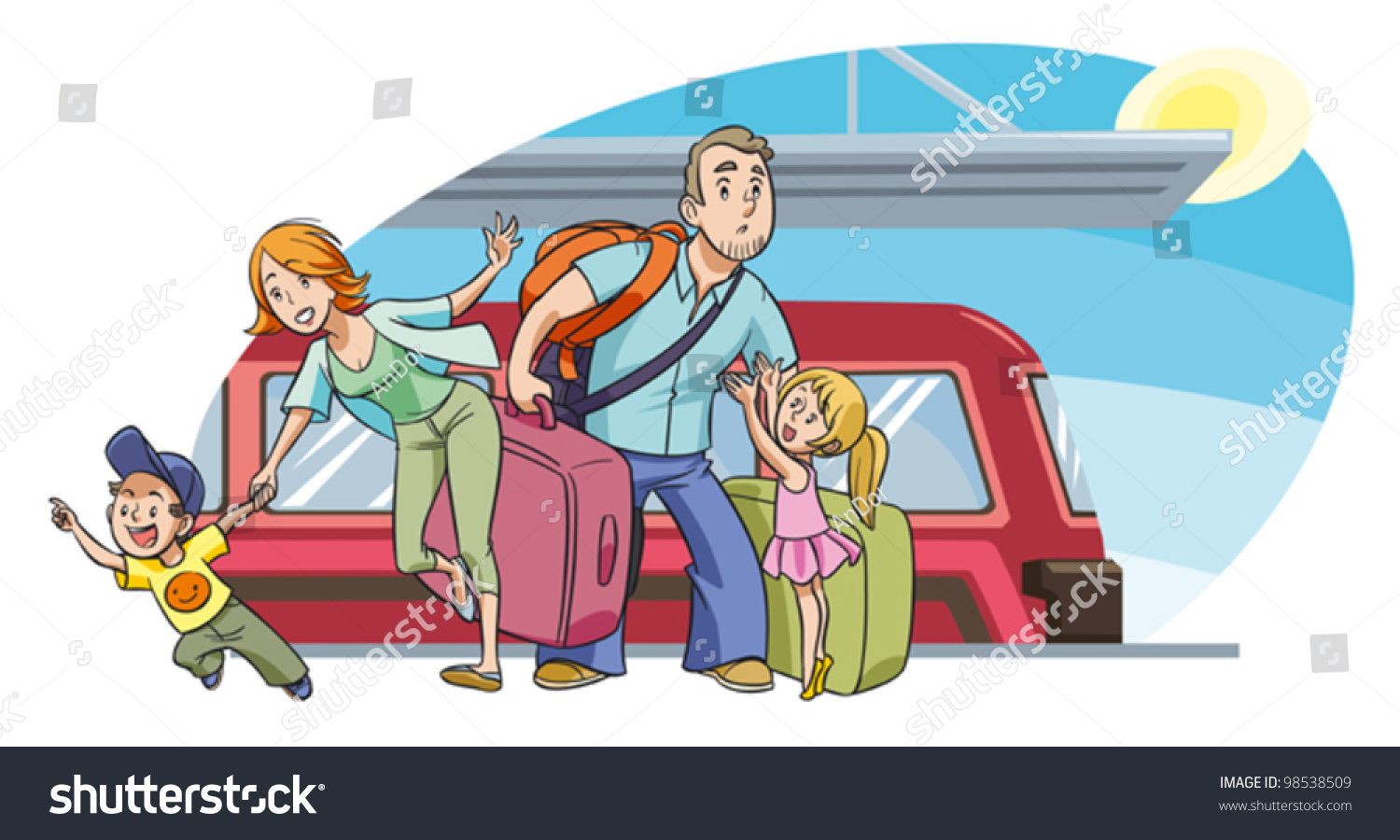Family two kids going on vacation stock vector 98538509 for Where can i go on vacation
