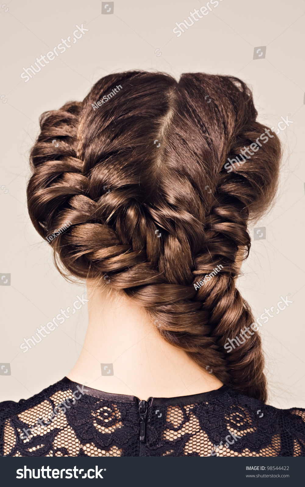 Stupendous Hairstyle Portrait Of Beautiful Brunette Girl With Creative Braid Hairstyles For Women Draintrainus