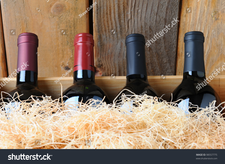 Closeup Four Different Wine Bottles Wooden Stock Photo Edit Now