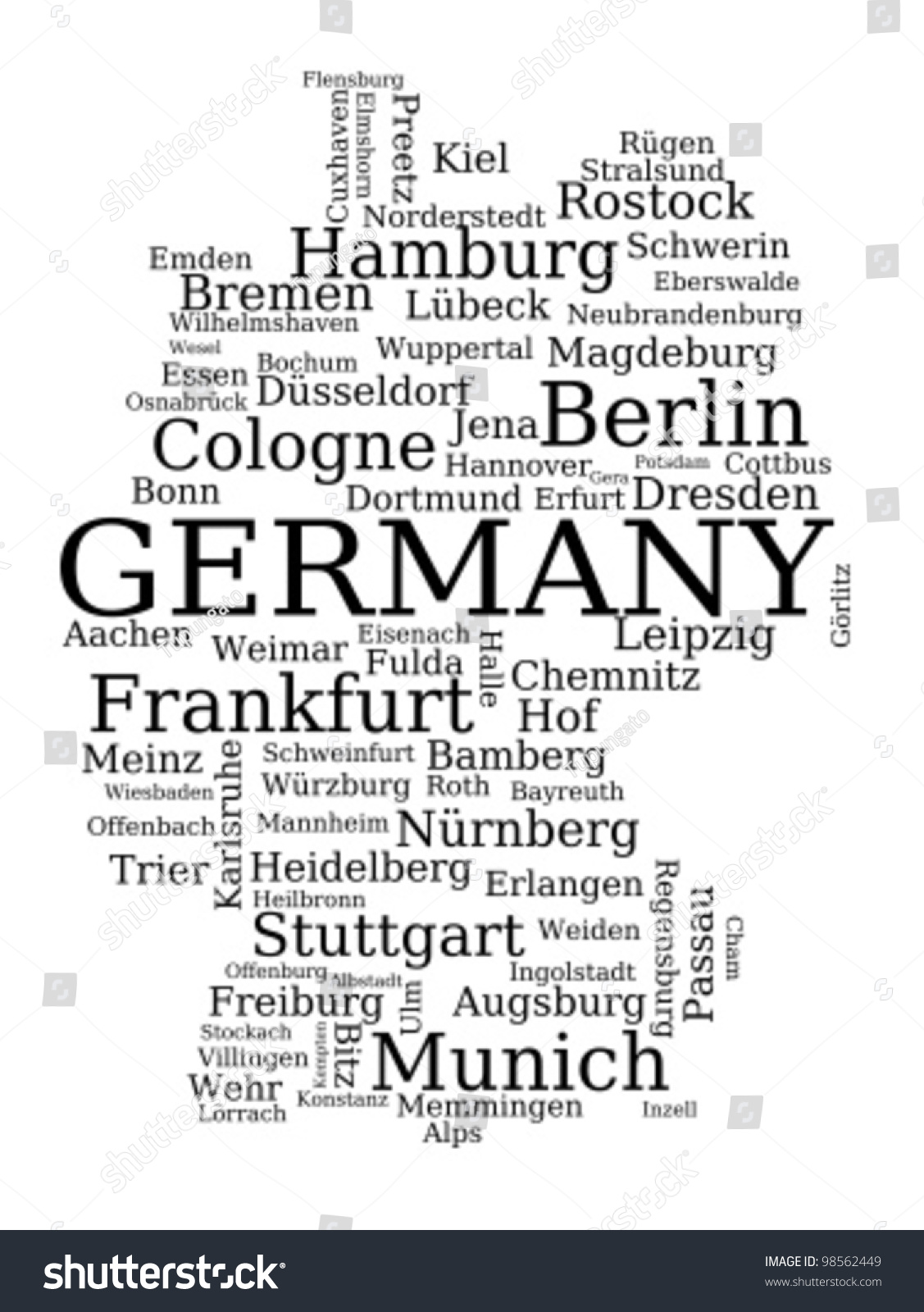map of germany outline made of city names german concept