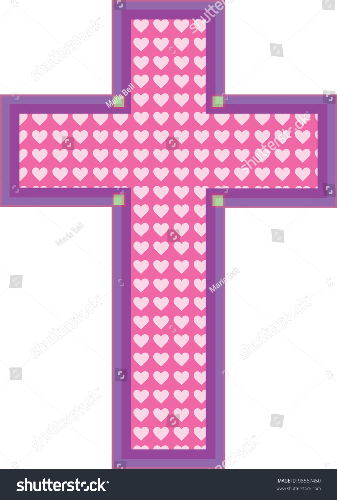 Pink Color Cross Has Heart Cutouts Stock Vector (Royalty Free ...