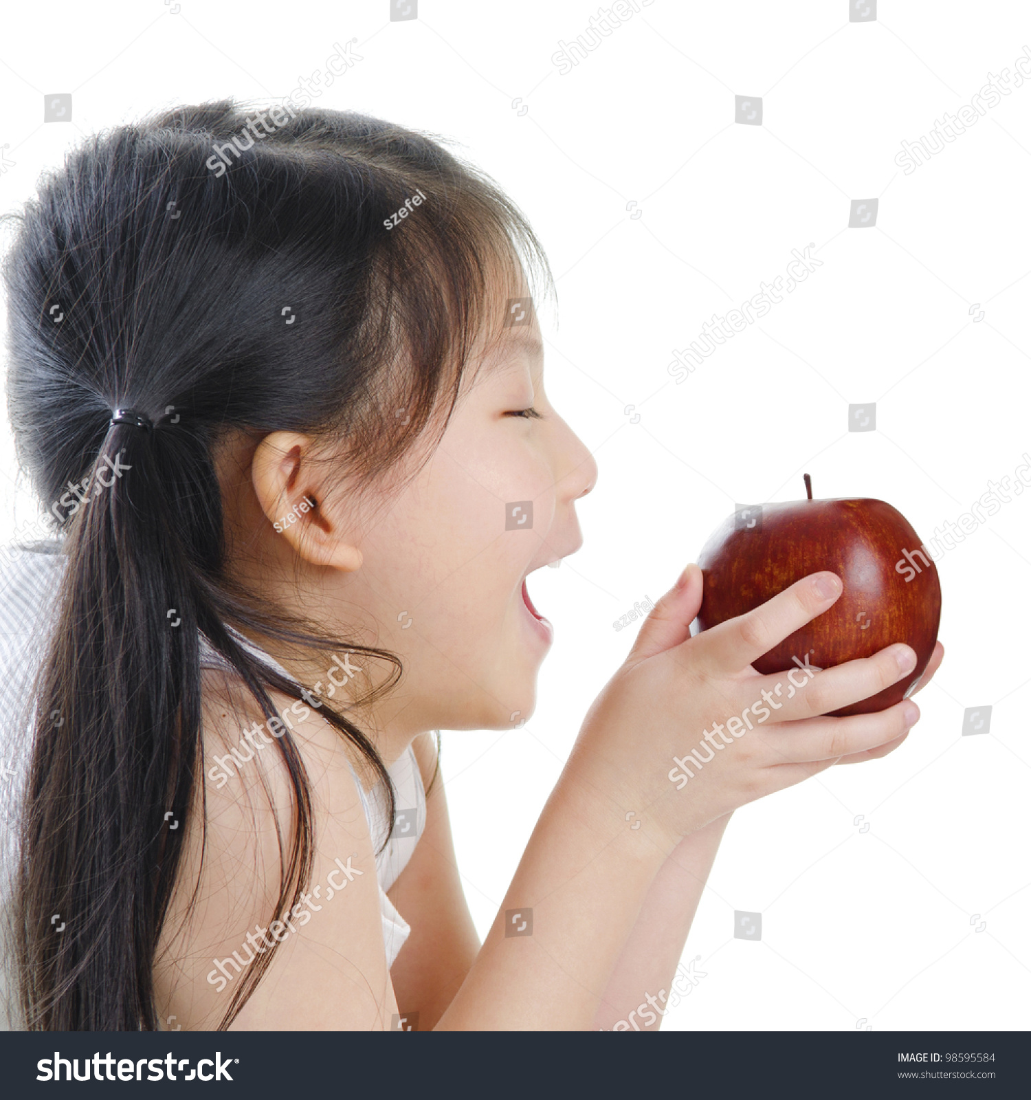 This Asian girl with apple that