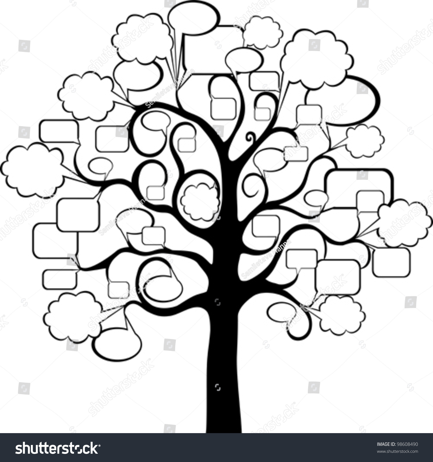 tree speech bubble isolated on white stock vector 98608490 shutterstock. Black Bedroom Furniture Sets. Home Design Ideas