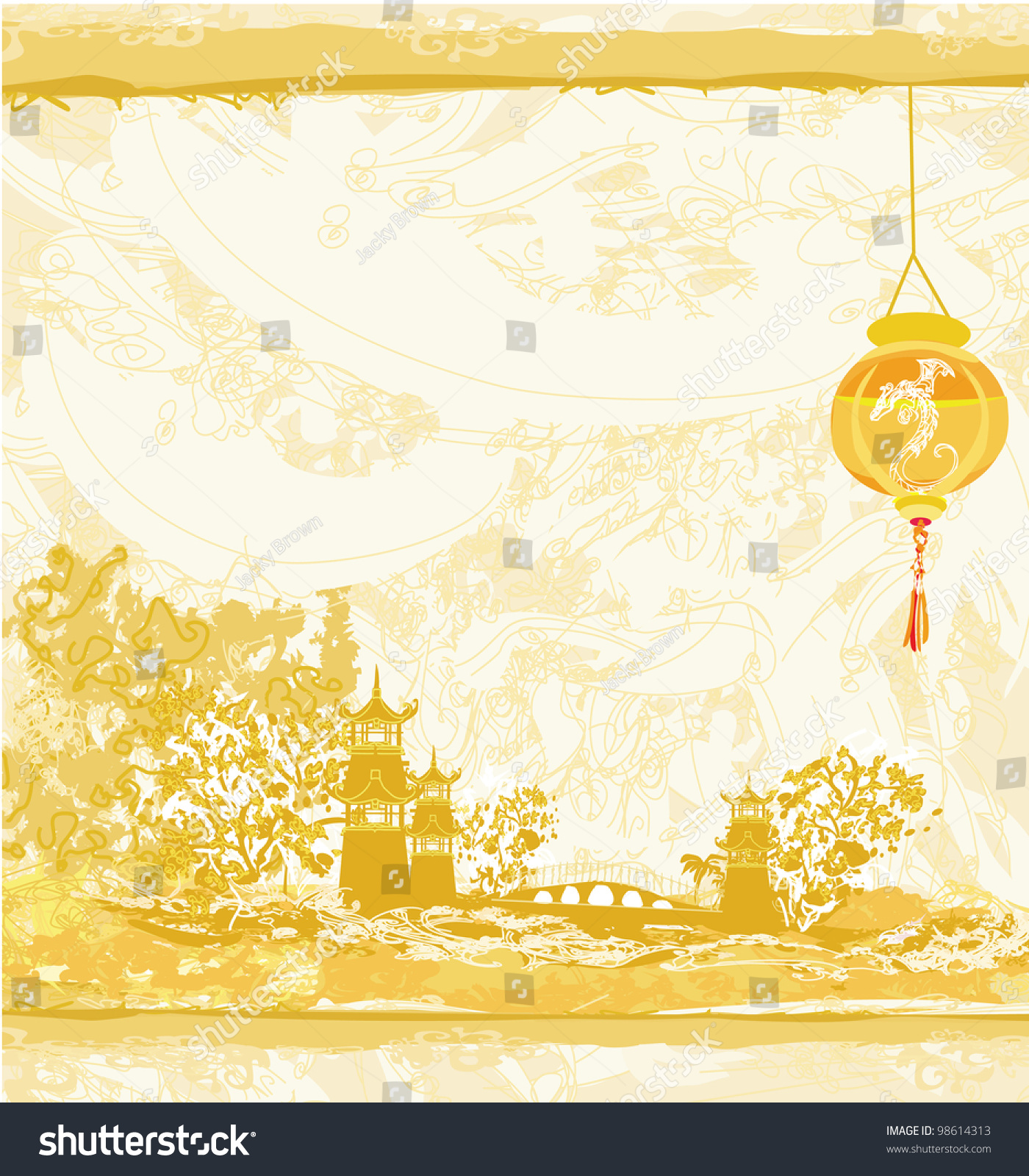 Old paper asian landscape chinese lanterns stock vector for Landscape design paper
