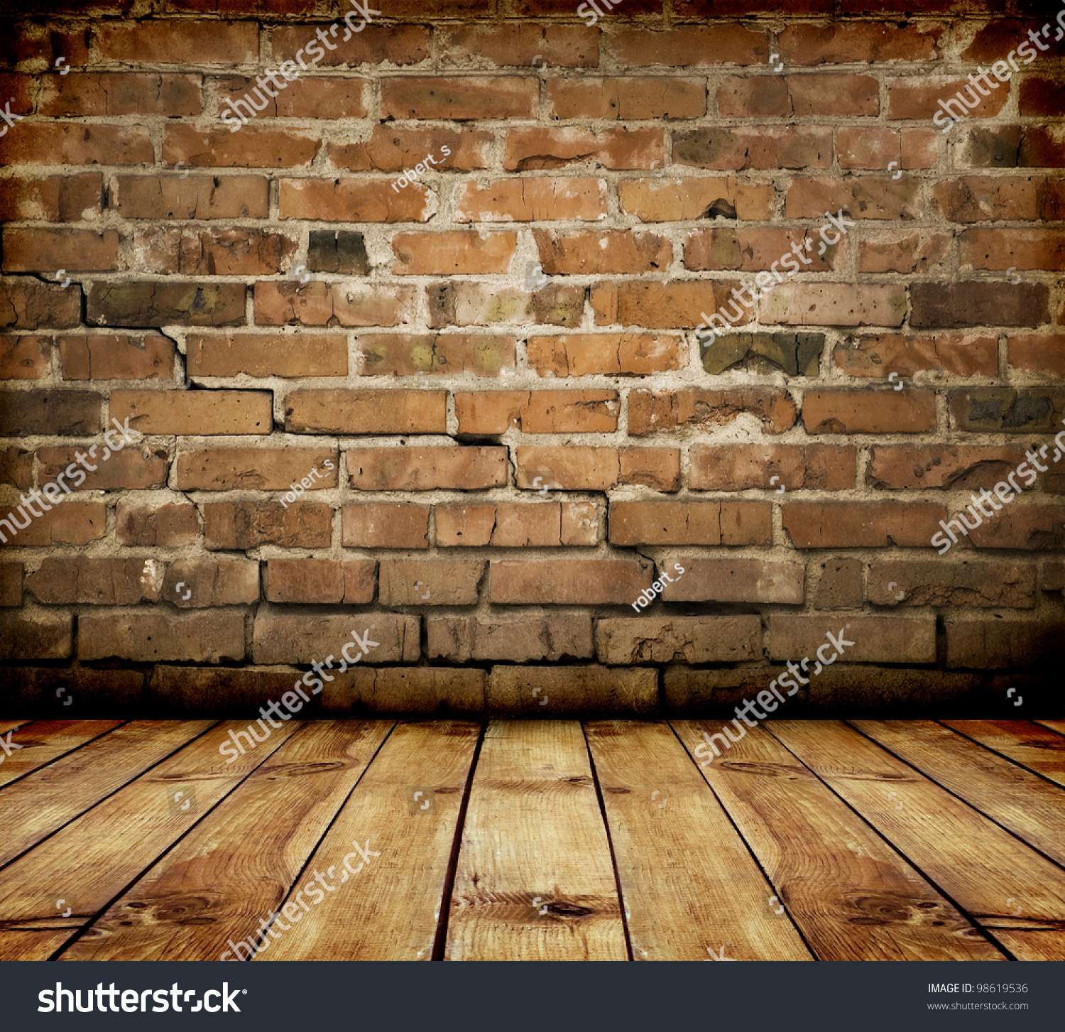 room interior vintage with brick wall and wood floor - Room Interior Vintage Brick Wall Wood Stock Photo 98619536
