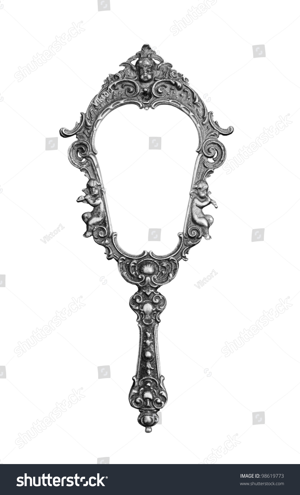 hand mirror sketch. Vintage Hand-held Mirror Isolated On White #98619773 Hand Sketch G