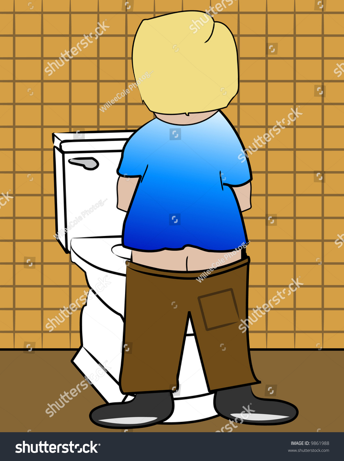 Young blonde peeing in toilet