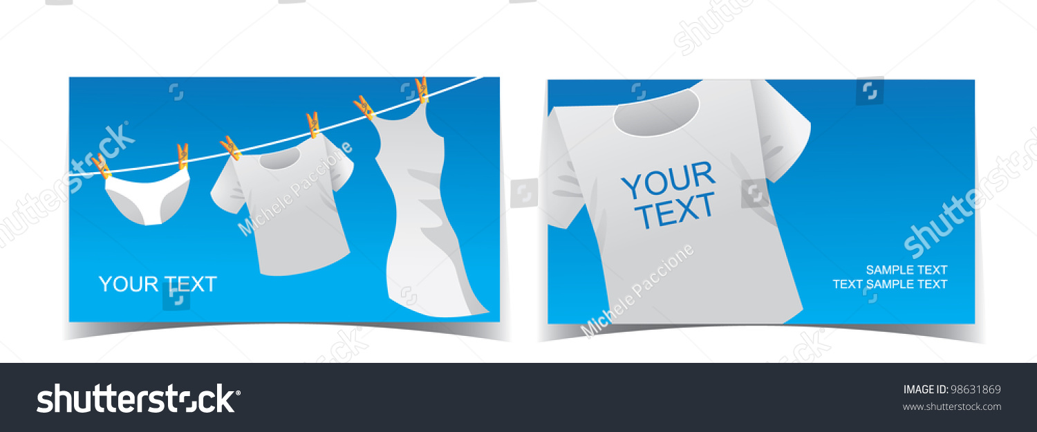Clothesline Laundry Business Card Set EPS Stock Vector 98631869 ...