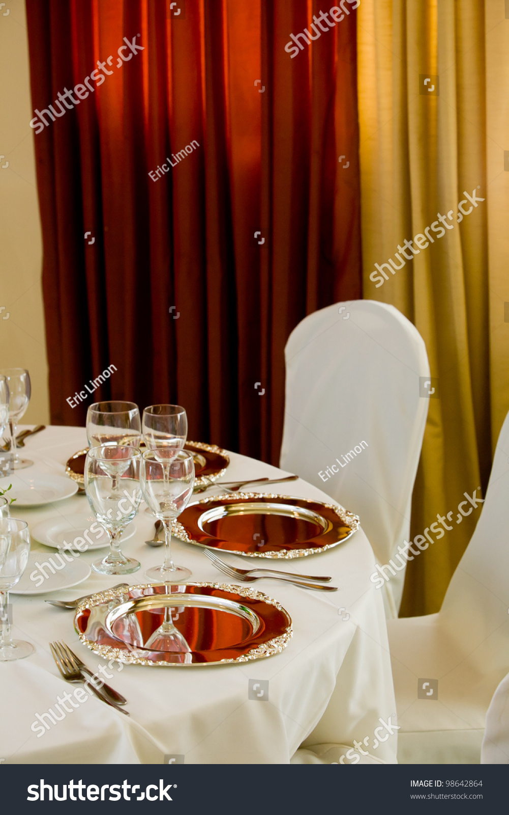 Wedding Table And Chairs With White Tablecloth And Silver  : stock photo wedding table and chairs with white tablecloth and silver platters set for fine dining 98642864 from www.shutterstock.com size 1001 x 1600 jpeg 504kB