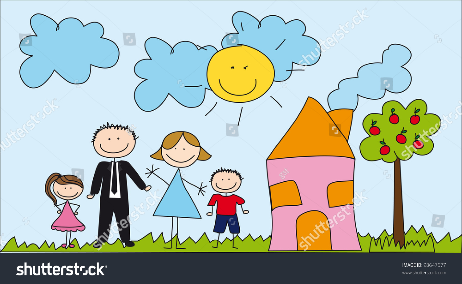 Peachy Cute Family House Drawing Vector Illustration Stock Vector Largest Home Design Picture Inspirations Pitcheantrous