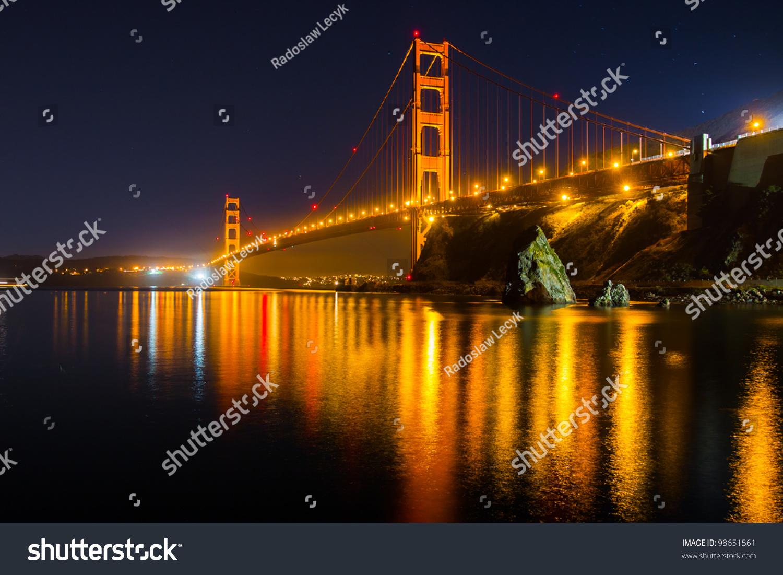 Golden gate bridge night stock photo 98651561 shutterstock for Golden night