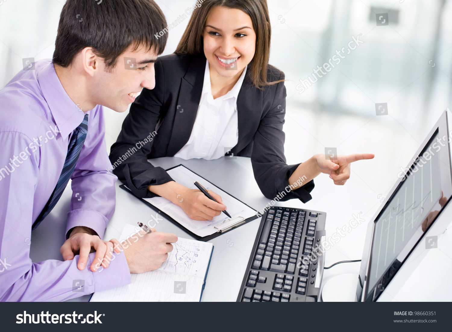 Young Business People Working Computer Stock Photo ...
