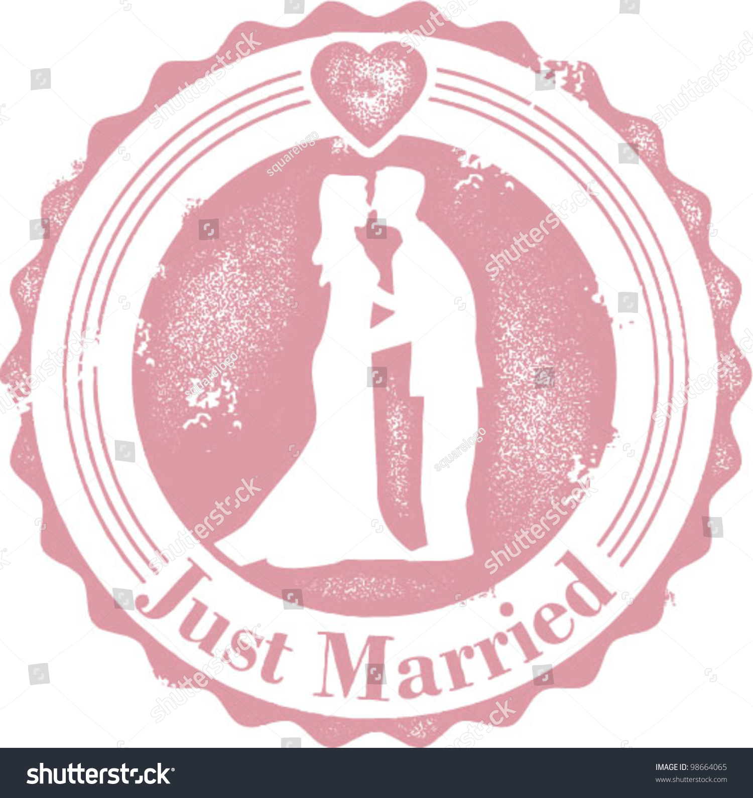 Just Married Wedding Couple Stamp Stock Vector (Royalty Free ...