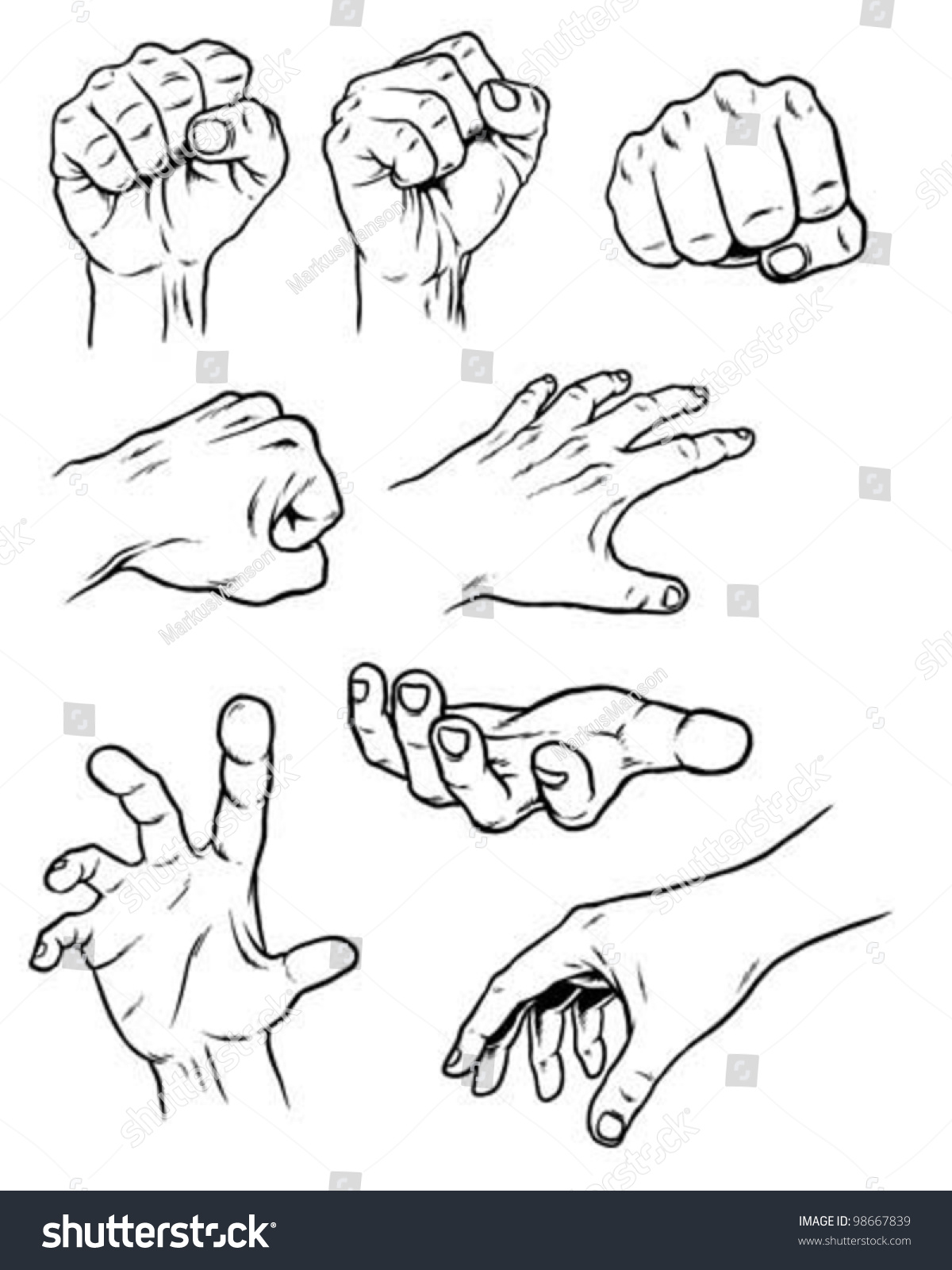 Hand Poses Stock Vector 98667839 - Shutterstock
