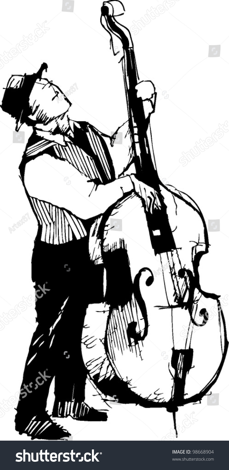 Black white sketch musician on bass stock vector royalty