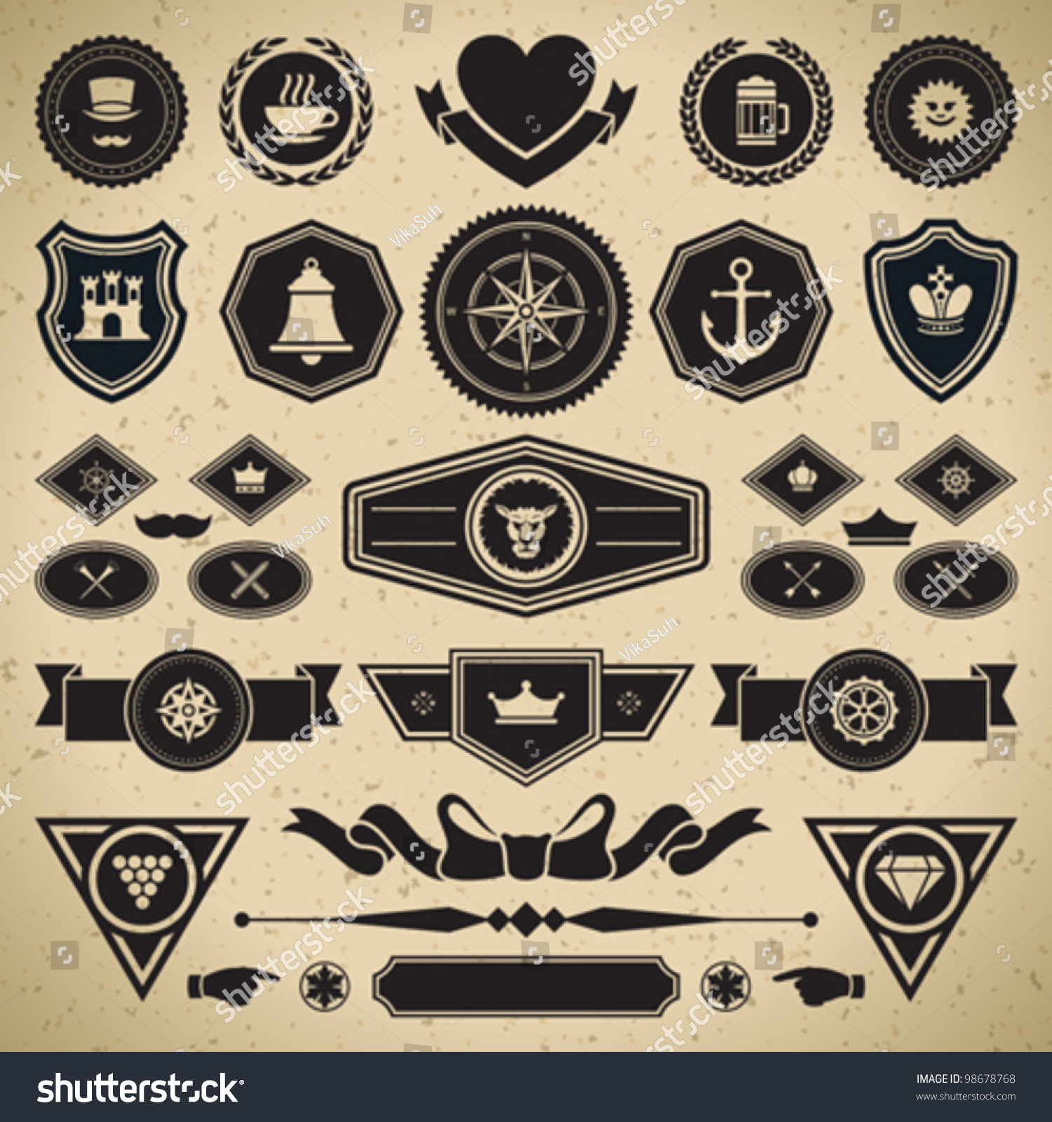 Vintage Style Retro Emblem Label Collection Stock Vector ...