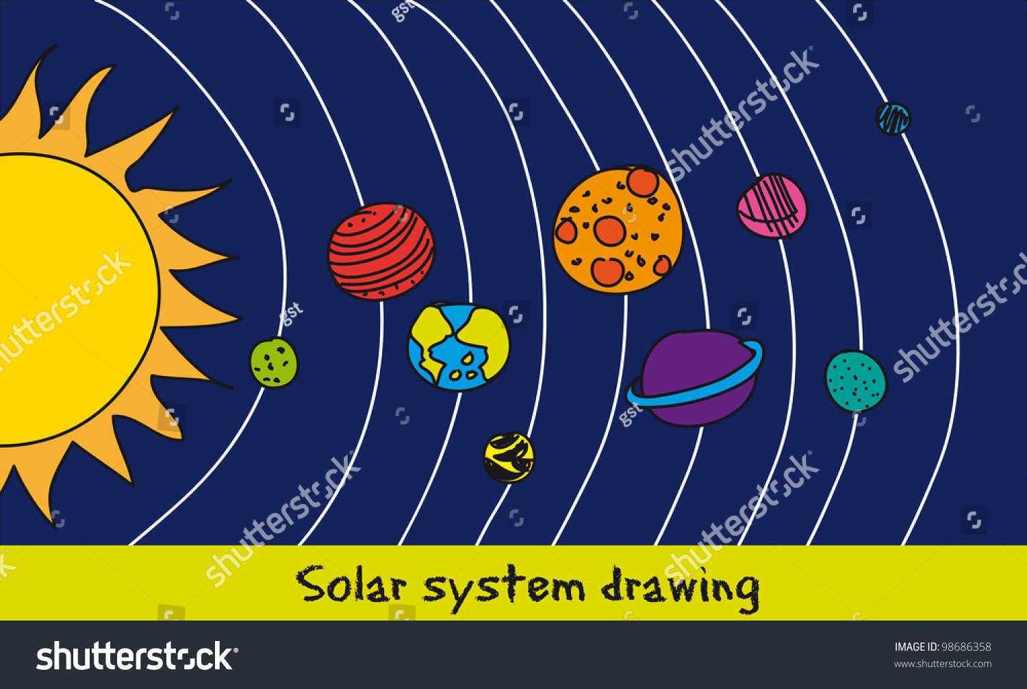 drawing of the solar system in the sun - photo #12