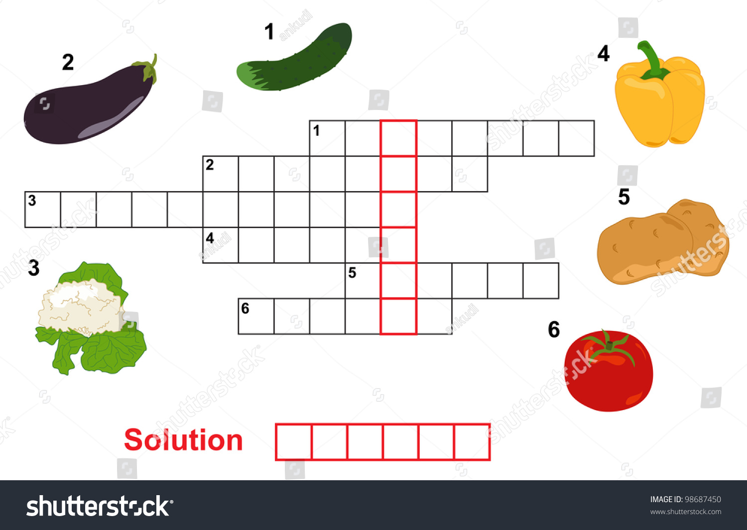 Game with shapes of different colors crossword - Vegetable Puzzle Crossword Words Game For Children