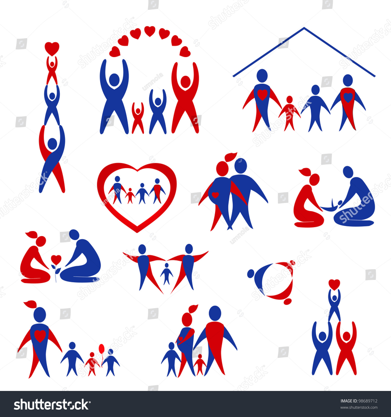 Set Of Family, Love Icons Stock Photo 98689712 : Shutterstock