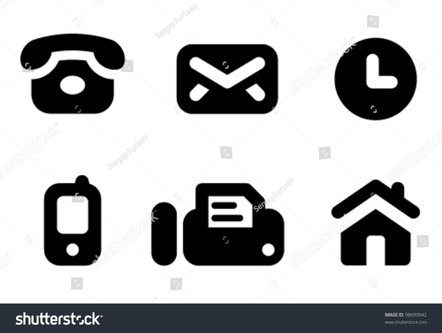 Contact information icon set: phone, mail, work time, mobile, fax and ...