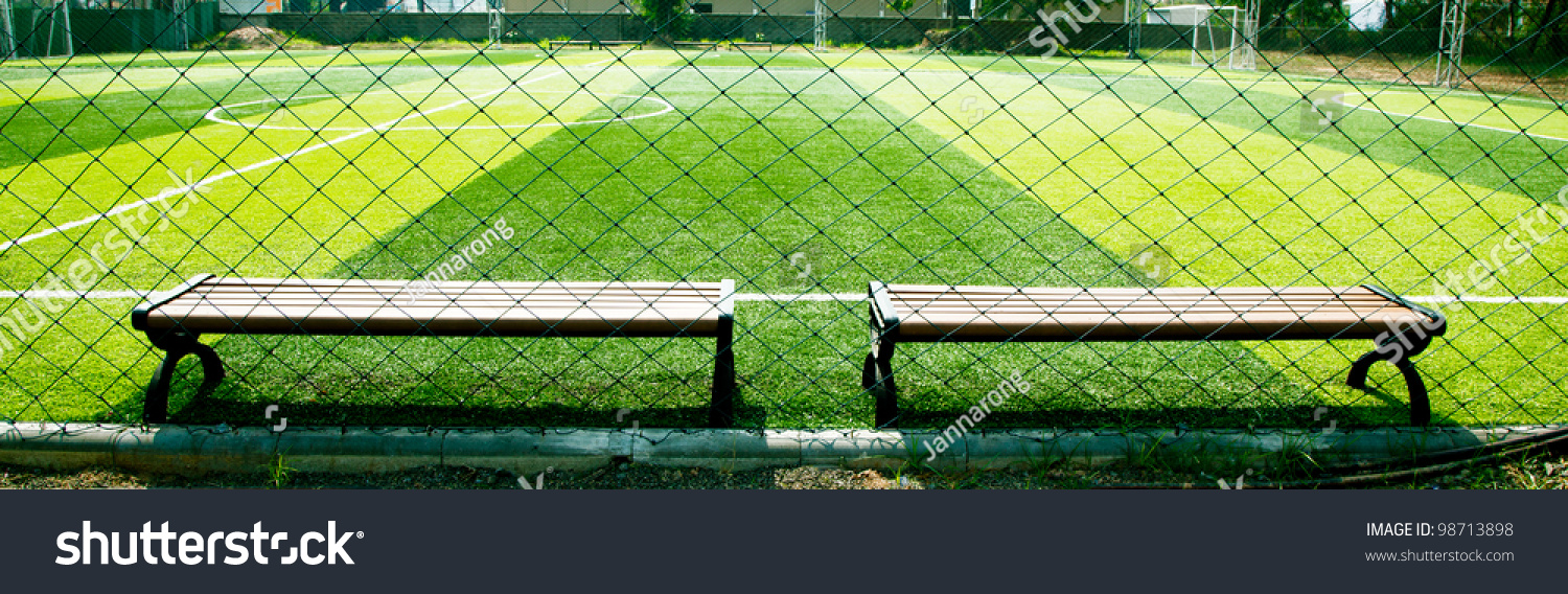 indoor soccer field panorama two bench stock photo 98713898