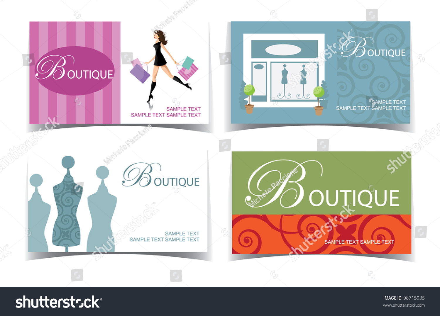 Boutique Business Card Set Eps 8 Stock Vector 98715935 - Shutterstock