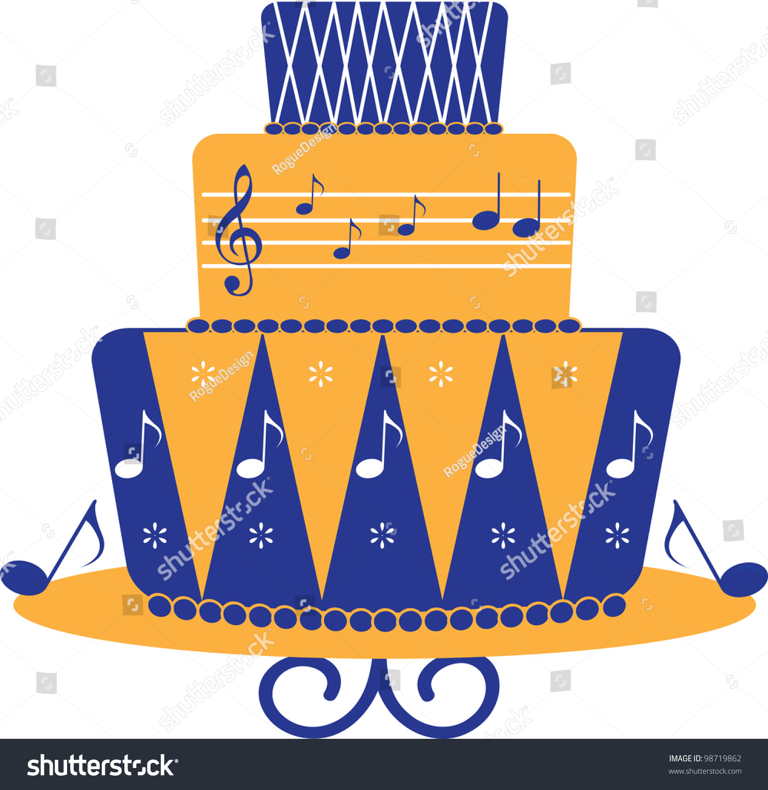 Topsy Turvy Cake Clipart : Clip Art Illustration Of Fondant Covered, Modern Style ...