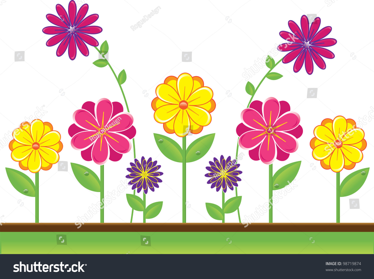 Cute spring flower - Clip Art Illustration Of Cute Yellow Pink And Purple Flowers Growing In The Spring