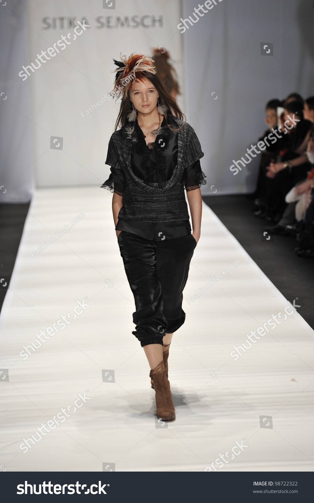 moscow march 24 model walks runway stock photo 98722322